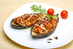 Eggplant stuffed minced meat Stock Images