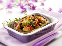 Eggplant stuffed with tofu Stock Photo