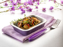 Eggplant stuffed with tofu capsicum Stock Photos