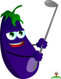 Eggplant swinging his golf club Royalty Free Stock Photo