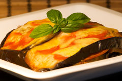 Eggplant with tomato and cheese Stock Image
