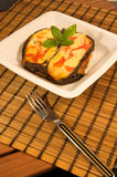 Eggplant with tomato and cheese Royalty Free Stock Photo
