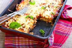 Eggplant, tomato and cheese bake Royalty Free Stock Images
