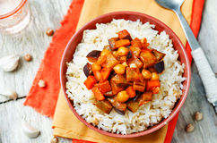Eggplant and tomato chickpea curry with rice Royalty Free Stock Image