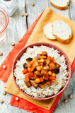 Eggplant and tomato chickpea curry with rice Royalty Free Stock Images
