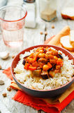 Eggplant and tomato chickpea curry with rice Royalty Free Stock Photography