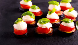 Eggplant, tomato and mozzarella appetizers Royalty Free Stock Photography