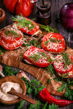 Eggplant and tomato stacks rustic Royalty Free Stock Photo