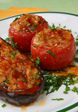 Eggplant and tomatoes filled with rice Stock Images