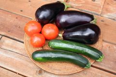 Eggplant, tomatoes and zucchini Stock Photography