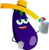Eggplant tourist holding a drink Royalty Free Stock Photo