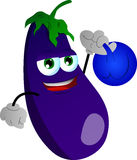 Eggplant training with kettlebell Royalty Free Stock Image