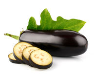 Eggplant vegetable fruits with cut isolated Stock Image
