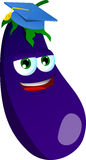 Eggplant wearing graduation cap Royalty Free Stock Images