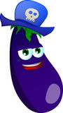 Eggplant wearing pirate hat Royalty Free Stock Images
