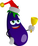 Eggplant wearing Santa's hat and playing bell Royalty Free Stock Photography