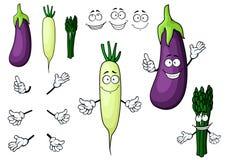 Eggplant, white radish, asparagus vegetables Royalty Free Stock Images