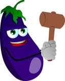 Eggplant with a wooden hammer Stock Photo
