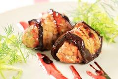 Eggplant wrapped meatballs Stock Image