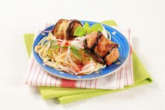 Eggplant wrapped meatballs with spaghetti Royalty Free Stock Image