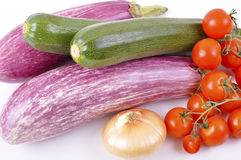 Eggplant and zucchini cherry tomatoes Royalty Free Stock Photography