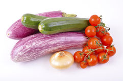 Eggplant and zucchini cherry tomatoes Royalty Free Stock Photos