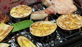 Eggplant and zucchini and grilled vegetables on the barbecue Stock Image