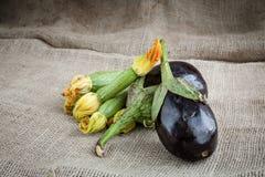 Eggplant and zucchini on sack Royalty Free Stock Image