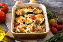 Eggplant,zucchini and tomato with mozzarella Stock Images