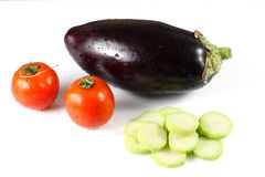 Eggplant, zucchini and tomatoes Royalty Free Stock Photo