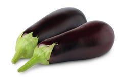 Isolated eggplants. Two fresh eggplants isolated on white background royalty free stock images