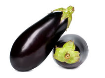 Eggplants. Black isolated on white Royalty Free Stock Photo
