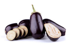 Eggplants or aubergines. On white background royalty free stock photo