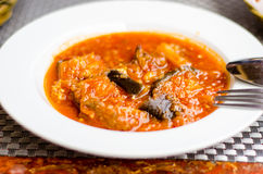 Eggplants and beef stew. Arab cuisine- beef and eggplants stew royalty free stock image