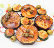 Eggplants with capers Stock Photos