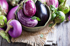 Eggplants of different variety on the table Royalty Free Stock Photos