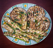 Eggplants. A Dish of grilled eggplants with spices from italian recipe Stock Photography