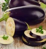 Eggplants with fresh  herbs Stock Photo