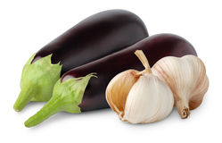 Eggplants and garlic. Over white background royalty free stock photography