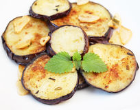 Eggplants with garlic Stock Photography