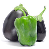 Eggplants and green pepper Royalty Free Stock Image