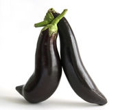 Eggplants in love Stock Photo