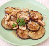 Eggplants with mushrooms Stock Photo