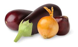 Eggplants and onions Royalty Free Stock Images