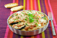 Eggplants parmigiana. With cheese and tomato traditional recipe Stock Photos