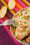 Eggplants parmigiana. With cheese and tomato traditional recipe Royalty Free Stock Photo