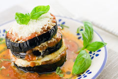 Eggplants parmigiana Stock Photography