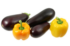 Eggplants and pepper on white Stock Photography