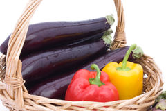 Eggplants And Peppers royalty free stock photos