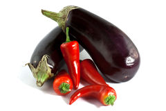 Eggplants & Peppers Royalty Free Stock Images